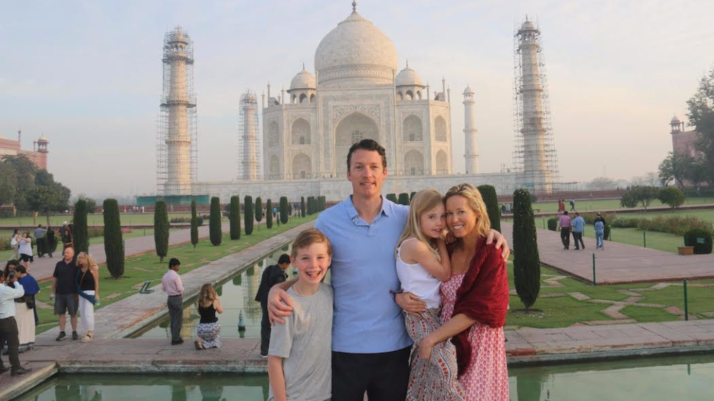 David, Kelly, Weston and Caroline Mebane at the Taj Mahal in Agra, India