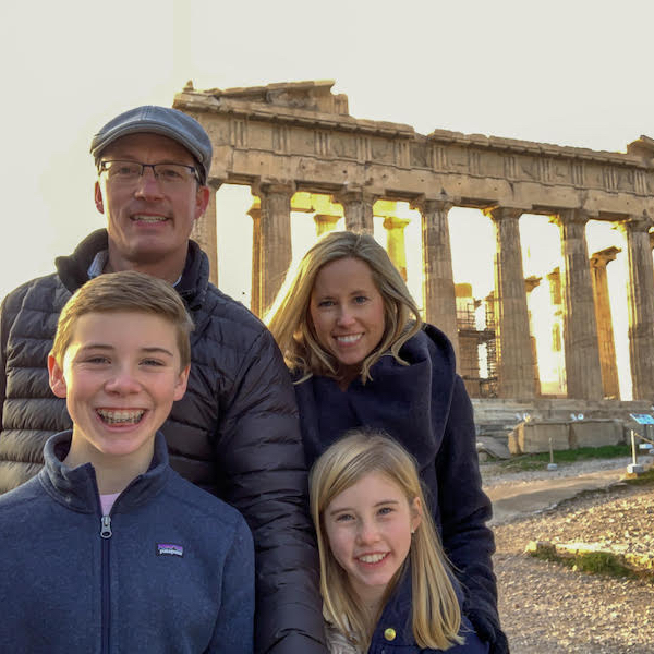 David, Kelly, Weston and Caroline Mebane in front of the Parthenon in Athens, Greece