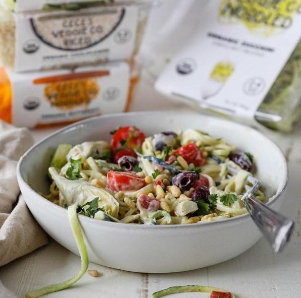 Flora & Vino mediterranean zucchini noodle salad